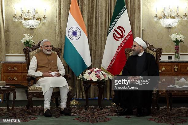 Indian Prime Minister Narendra Modi meets with Iranian President Hassan Rouhani in Tehran Iran on May 23 2016