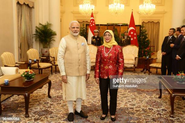 Indian Prime Minister Narendra Modi meets with Singapore President Halimah Yacob at the Istana on June 1 2018 in Singapore Narendra Modi is on a...