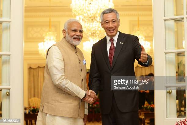 Indian Prime Minister Narendra Modi meets with Singapore Prime Minister Lee Hsien Loong at the Istana on June 1 2018 in Singapore Narendra Modi is on...