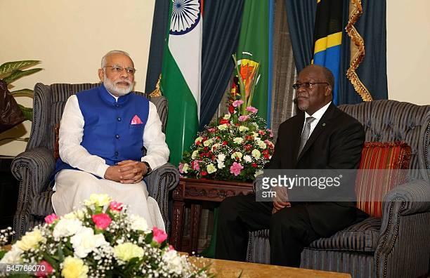 Indian Prime Minister Narendra Modi meets with Tanzania President John Magufuli at State House in Dar es Salaam Tanzania Sunday July 10 2016 Modi is...