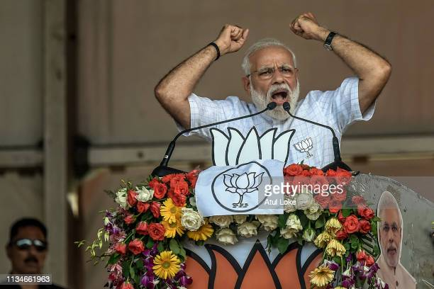 Indian Prime Minister Narendra Modi speaks at the public rally at Brigade ground on April 3, 2019 in Kolkata, India. Around 900 million people will...