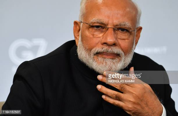 Indian Prime Minister Narendra Modi speaks during a bilateral meeting with US President Donald Trump in Biarritz, south-west France on August 26 on...