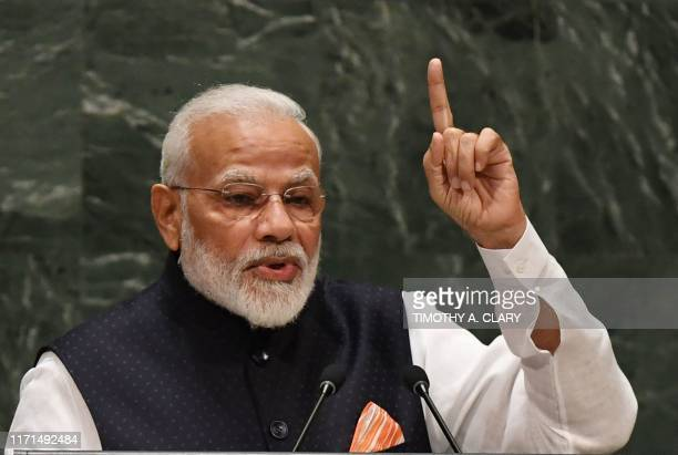 Indian Prime Minister Narendra Modi speaks during the 74th Session of the General Assembly at UN Headquarters in New York on September 27, 2019. /...