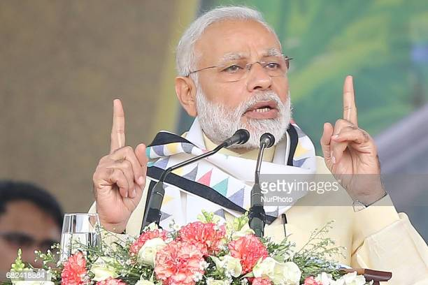 Indian Prime Minister Narendra Modi speaks to the Sri Lankan tea plantation workers of Indian origin during a rally in Norwood about 140 kilometers...