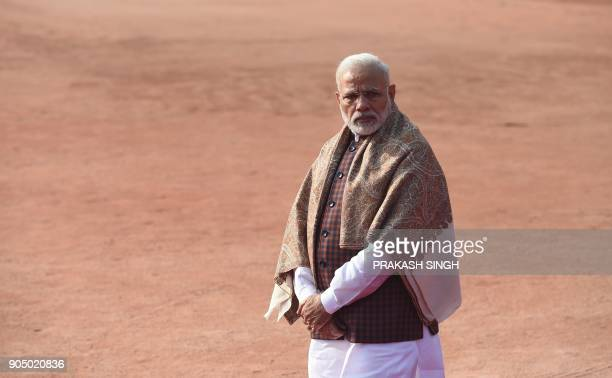Indian Prime Minister Narendra Modi waits for the arrival of Israeli Prime Minister Benjamin Netanyahu at the start of a ceremonial reception at the...