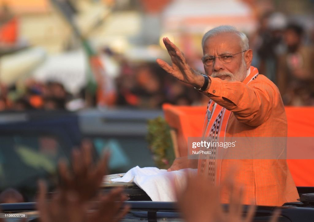 Lok Sabha elections 2019 Prime Minister Narendra Modi Holds Mega Roadshow In Varanasi : News Photo