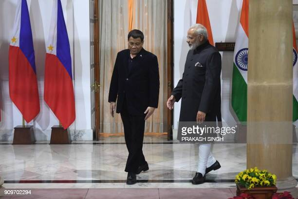 Indian Prime Minister Narendra Modi welcomes President of Philippines Rodrigo Roa Duterte ahead of a meeting on the sidelines of ASEANINDIA...