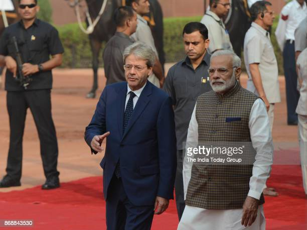 Indian Prime Minister Narendra Modi with Italy's Prime Minister Paolo Gentiloni during a ceremonial reception at President House in New Delhi