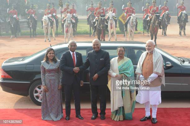 Indian Prime Minister Narendra Modi with Maldivian President Ibrahim Mohamed Solih and his wife Fazna Ahmed along with Indian President Ram Nath...