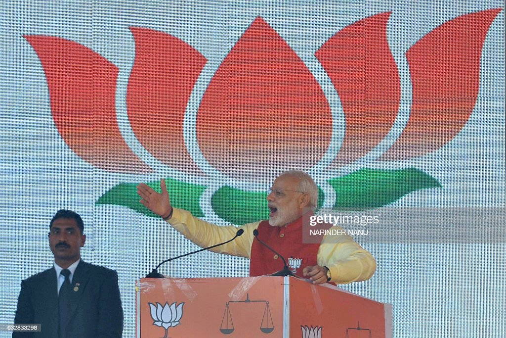 Indian Prime Minister Narendra Modispeaks during the Bharatiya Janata Party rally at the PAP ground in Jalandhar on January 27 2017 / AFP / Narinder..