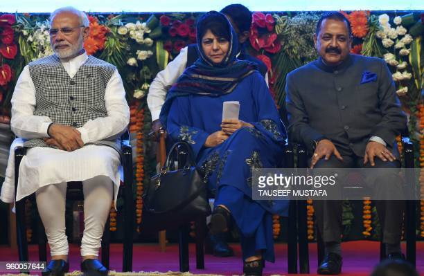 Indian Prime Minister Narinder Modi Jammu and Kashmir Chief Minister Mehbooba Mufty and Minister of State for Development of North Eastern Region...