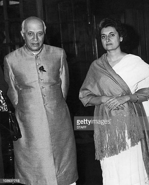 Indian prime minister Pandit Jawaharlal Nehru poses with his daughter Indira Gandhi 25 February 1961 in New Dehli Indian statesman and prime minister...