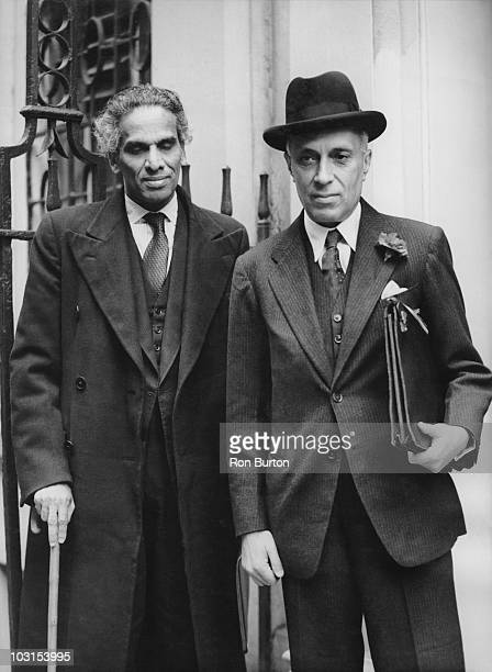 Indian Prime Minister Pandit Nehru arrives at Downing Street in London with V K Krishna Menon the High Commissioner for India 21st April 1949 They...