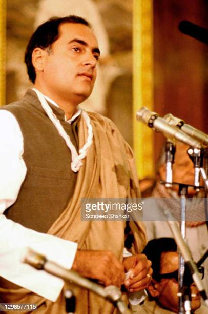 Indian Prime Minister Rajiv Gandhi addressing the Congress Parliamentary Party in the Central Hall of Parliament after he was chosen the leader of...