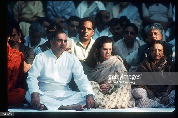 Indian Prime Minister Rajiv Gandhi and his wife Sonia attend the memorial service for Indira Gandhi October 31 1989 in India Indira Gandhi was...