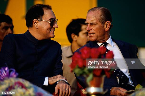 Indian prime minister Rajiv Gandhi attends a World Wildlife Fund event with Prince Philip president of the organization Gandhi is announcing the...