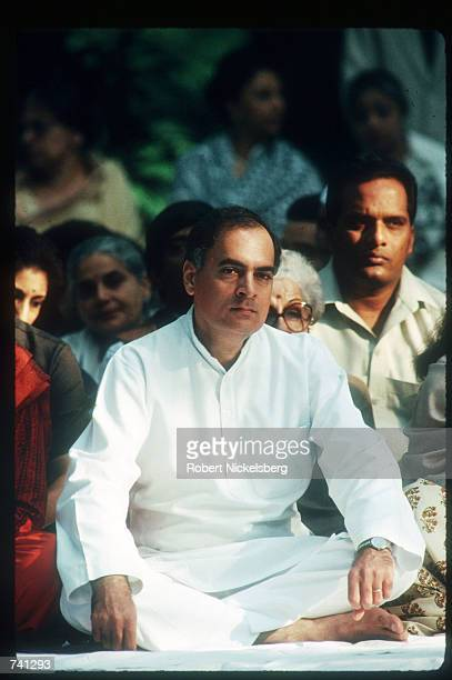 Indian Prime Minister Rajiv Gandhi attends the memorial service for Indira Gandhi October 31 1989 in India Indira Gandhi was assassinated by two Sikh...