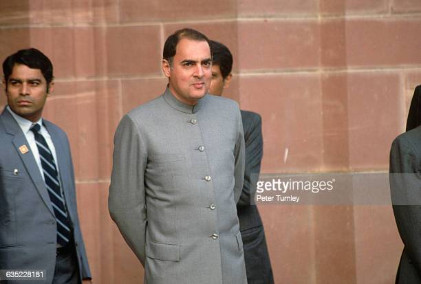 Indian Prime Minister Rajiv Gandhi awaits Mikhail Gorbachev who is making a state visit to India