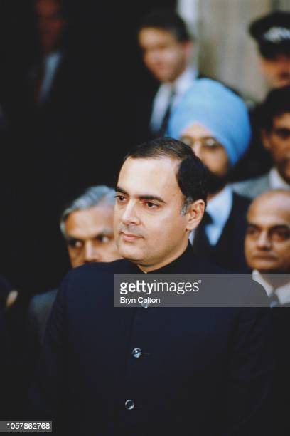 Indian Prime Minister Rajiv Gandhi outside 10 Downing Street after meeting the British Prime Minister Margaret Thatcher during his official visit to...