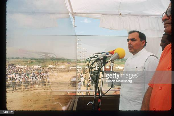Indian Prime Minister Rajiv Gandhi speaks during his visit to the Punjab state September 21, 1988 in Punjab, India. Sikhs who attended the speech...