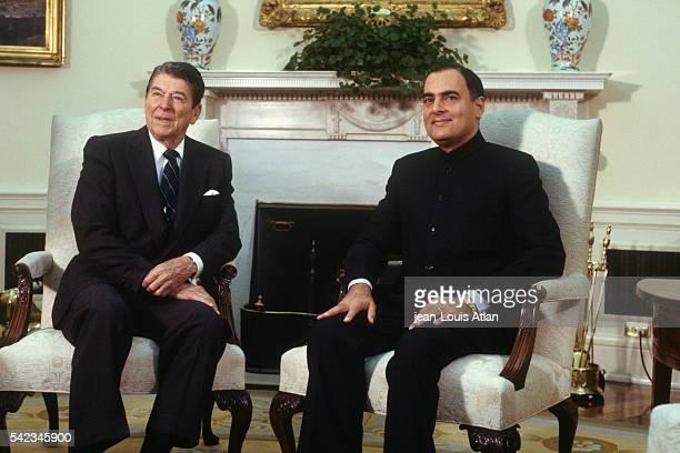 Indian Prime Minister Rajiv Gandhi visiting American President Ronald Reagan at the White House