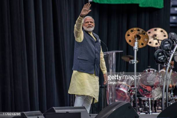Indian Prime Minster Narendra Modi acknowledges the crowd onstage at NRG Stadium during a rally on September 22, 2019 in Houston, Texas. The rally,...