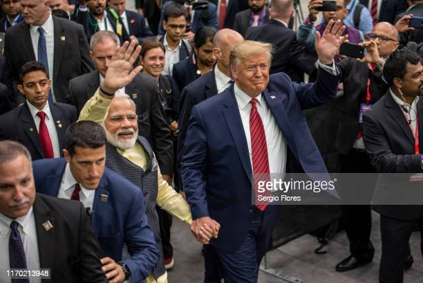 Indian Prime Minster Narendra Modi and U.S. President Donald Trump leave the stage at NRG Stadium after a rally on September 22, 2019 in Houston,...