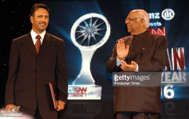 Indian professional golfer Jeev Milkha Singh receiving CNN IBN Indian of the year 2006 Award from Lok Sabha Speaker Somnath Chatterjee February 7...