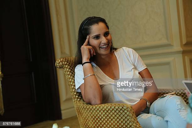 Indian Professional Tennis Player Sania Mirza poses during an interview with HT CityHindustan Times on July 15 2016 in New Delhi India