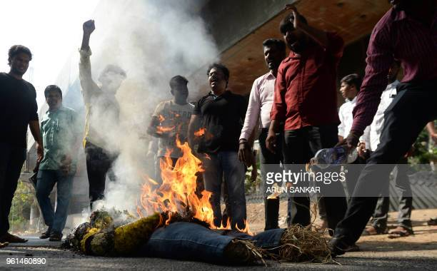 Indian protesters burn an effigy of Vedanta Resources Executive Chairman Anil Agarwal during a protest in Chennai on May 22 condemning the killings...