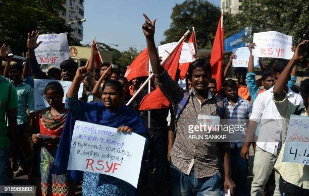 Indian protesters demonstrate against the Supreme Court's verdict on the Cauvery River water dispute in Chennai on February 16 2018 India suffers...