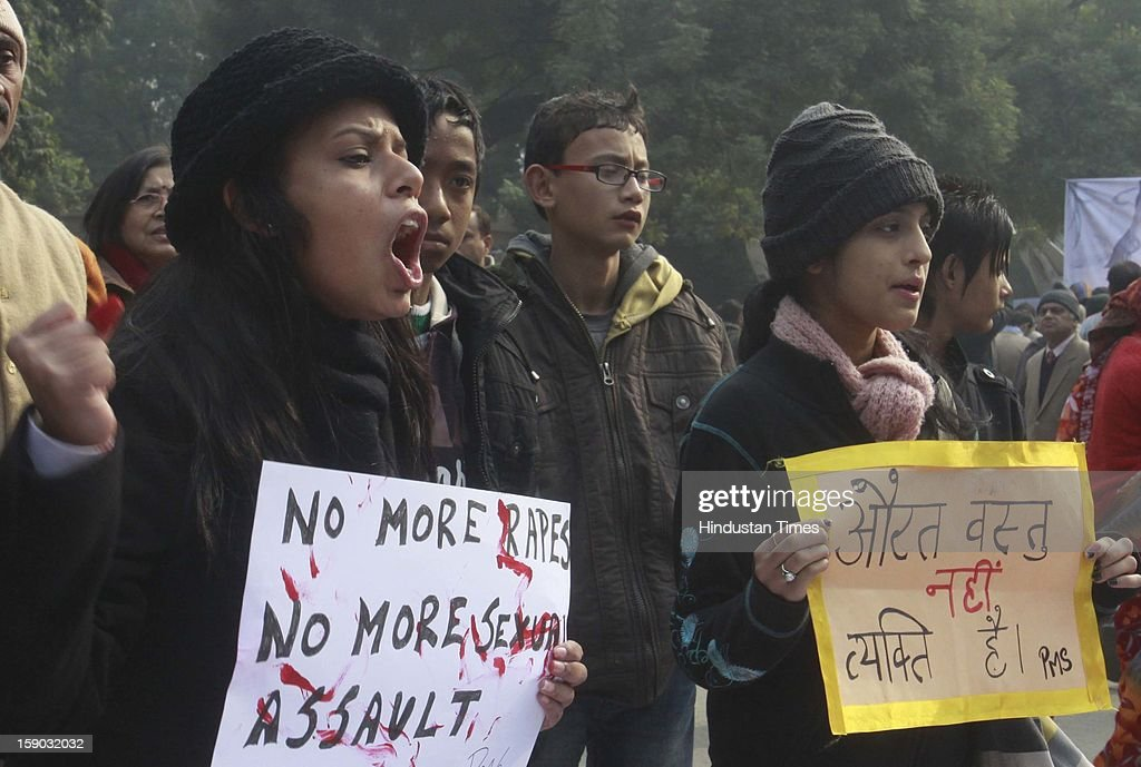 Indian protesters shouts slogans during a protest against a gang rape on January 6, 2013 in New Delhi, India. Claims of police incompetence and public apathy stirred new anger in the Delhi gang-rape case after the boyfriend of the victim recounted details of the savage attack for the first time. The man was the only witness to the gang-rape of his girlfriend by six men on a moving bus on December 16 which has stirred sometimes violent protests against the treatment of women in Indian society and an apparent rise in sex crime.