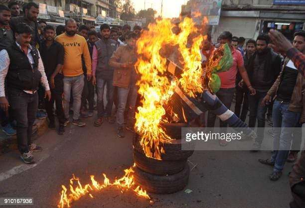 Indian protesters take part in a demonstration against Bollwood film 'Padmaavat' in Sikar on January 25 2018 Thousands of police in riot gear guarded...
