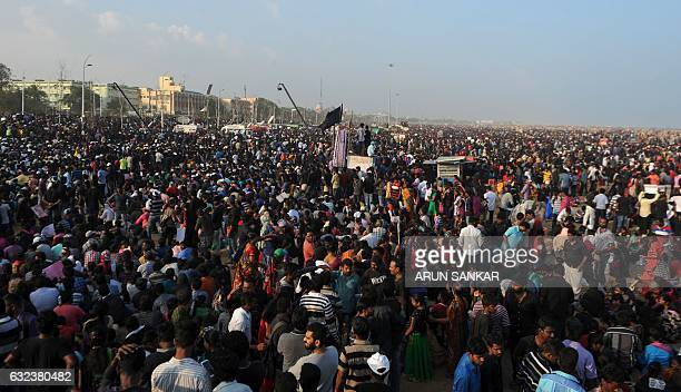 Indian protesters take part in a demonstration against the ban on the Jallikattu bull taming ritual in Chennai on January 22 2017 Two people were...