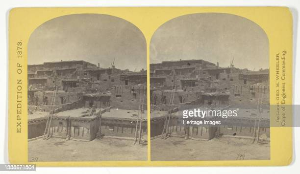 Indian Pueblo of Zuni, New Mexico; view from the interior. The 'Pueblo' or town, encloses a quadrangular area within which are the ruins of a church...