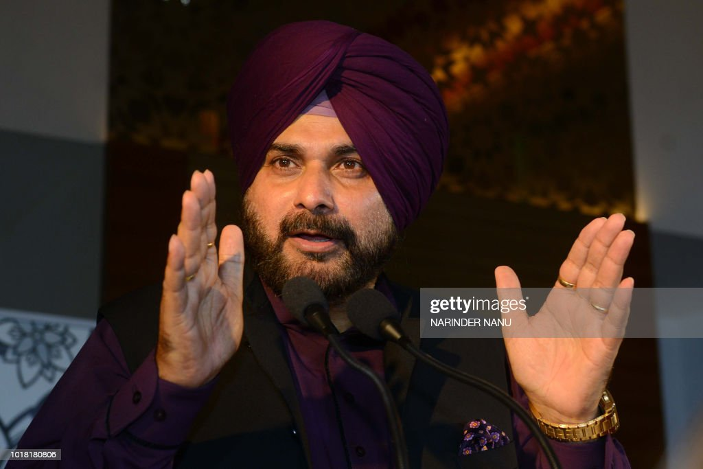 Indian Punjab Cabinet Minister Navjot Singh Sidhu speaks during the launch of new Air Asia services from Kuala Lumpur to Amritsar during a press...