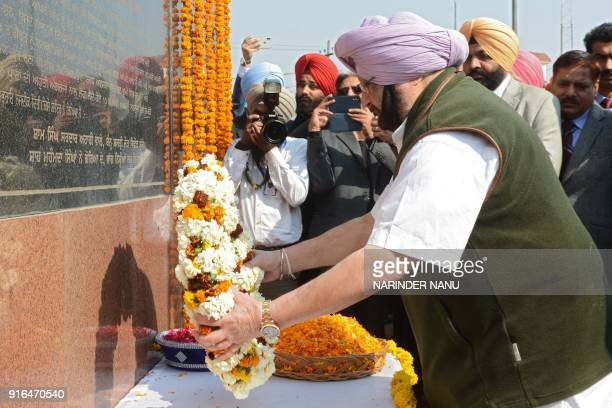 Indian Punjab Chief Minister Amarinder Singh lays a wreath as he pays tribute at the memorial of the Sikh warrior General Sardar Sham Singh Attari at...