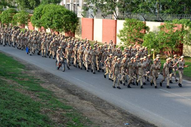 Indian Punjab female police run during a training session at Punjab Armed Police campus in Jalandhar on July 4 2018