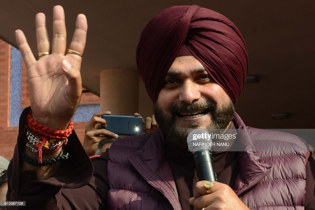 Indian Punjab Minister of Local Government Navjot Singh Sidhu gestures during the inauguration of Medical Camp at the Municipal Corporation office in.