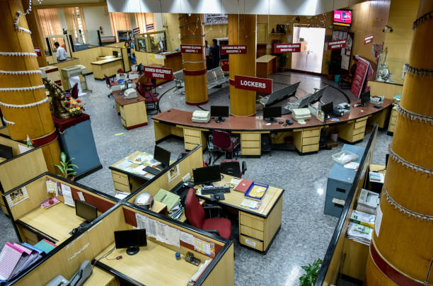 Indian Punjab National Bank was empty as workers stage a protest against a meagre 2 per cent wage hike offered by the Indian Banks Association at...