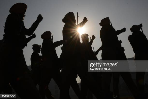 TOPSHOT Indian Punjab police personnel take part in a rehearsal ahead of the forthcoming Republic Day parade in Amritsar on January 19 2018 India...