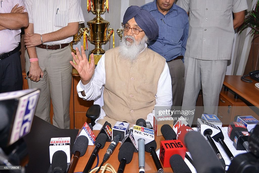 Indian Punjab state Chief minister Parkash Singh Badal addresses to the media after a meeting with Shiromani Akali Dal core committee at Teja Singh...