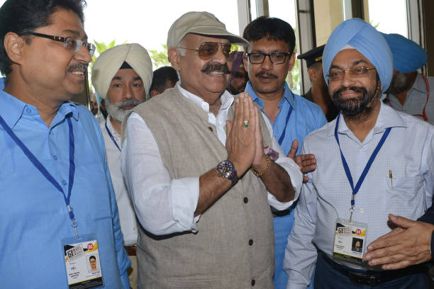 Indian Punjab state Governor VP Singh Badnore gestures as he arrives to attend the 64th Annual General Body Meeting and Elections of the All India...