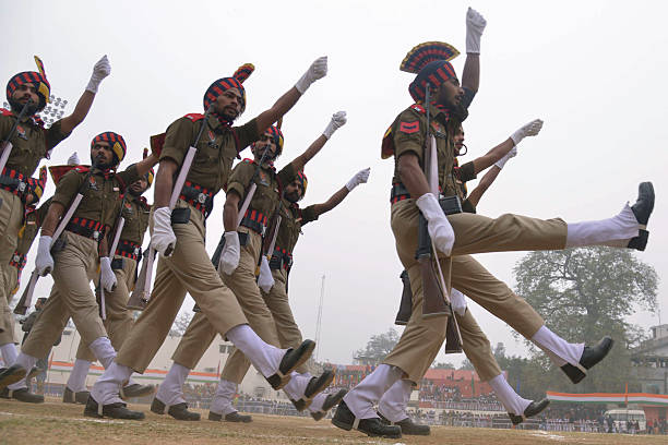 TOPSHOT Indian Punjab state policemen participate in a full dress rehearsal for the upcoming 67th Republic Day parade in Amritsar on January 23 2016..