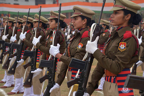 Indian Punjab state policewomen participate in a full dress rehearsal for the upcoming 67th Republic Day parade in Amritsar on January 23 2016 India..
