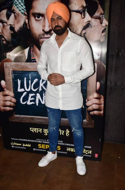 Indian punjabi singer actor Gippy Grewal pose at the special screening of film Lucknow Central at Lightbox in Mumbai