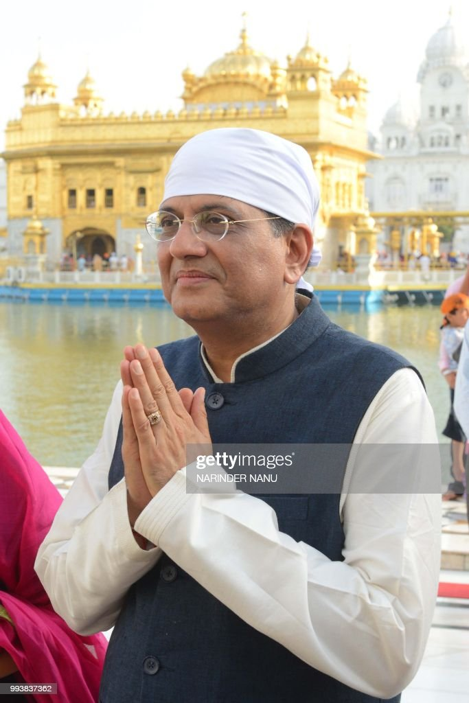 Indian Railway Minister Piyush Goyal pays respect at the Sikh Shrine Golden Temple in Amritsar on July 8 2018