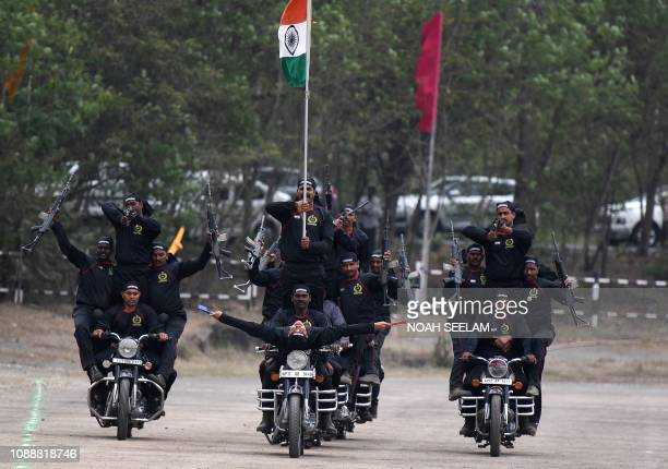 Indian Railway Protection Force commandoes perform stunts on motorbikes during Republic Day celebrations in Secunderabad the twin city of Hyderabad...