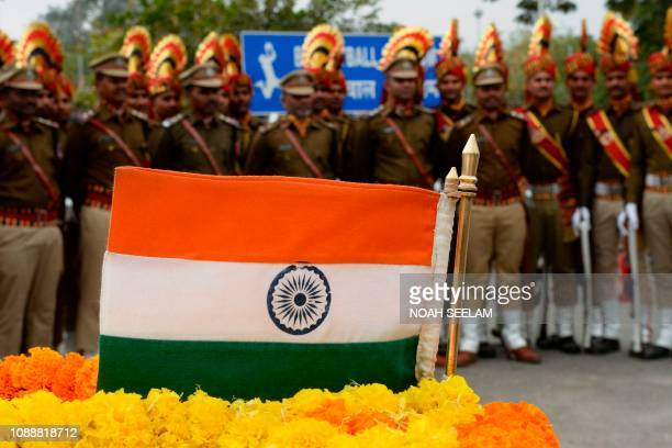 Indian Railway Protection Force personnel line up after a parade during Republic Day celebrations in Secunderabad the twin city of Hyderabad on...