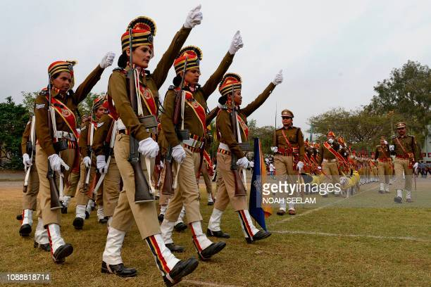 Indian Railway Protection Force personnel march during Republic Day celebrations in Secunderabad the twin city of Hyderabad on January 26 2019 India...